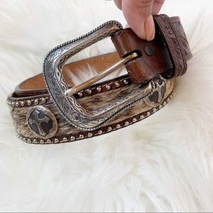 3D Boho Western calf hair studded belt